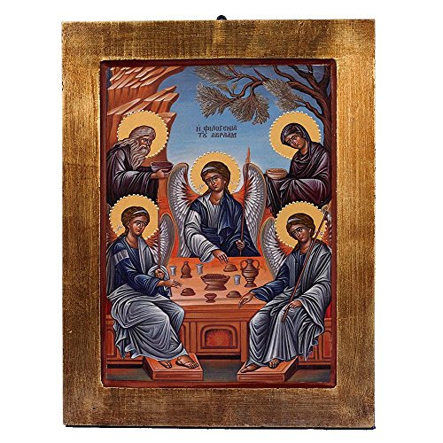 The Hospitality of Abraham & Sarah Greek Painted Icon by Catholic Gifts USA
