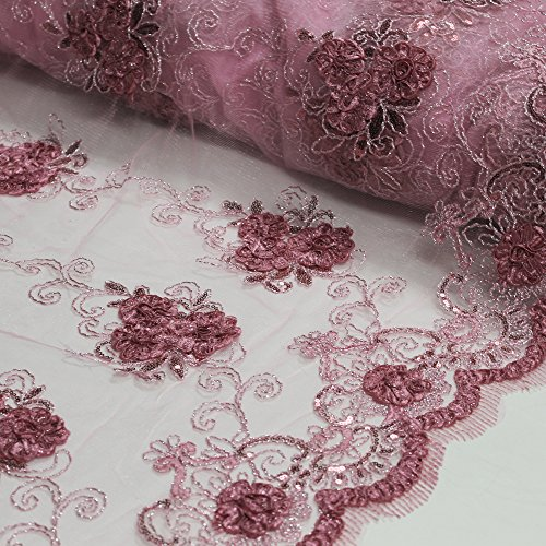 Dusty Rose 3D Hyacinth Trio Floral Sequin Foil Embroidered 54'' on Mesh Scalloped Lace Fabric Foil Mesh Dress