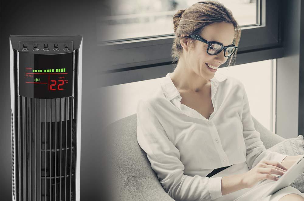 TROTEC Standventilator Turmventilator TVE 29 T Tower-Ventilator Automatische 60/°-Oszillation mit Abschaltfunktion 3 Geschwindigskeitsstufen 45 Watt Sicherer Standfu/ß Tragegriff