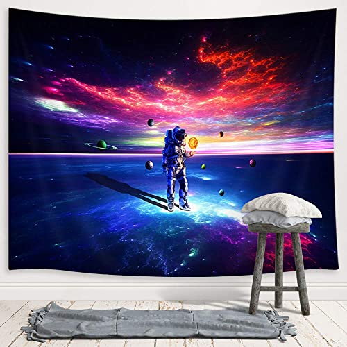 JAWO Astronaut Tapestry for Men, Colorful Galaxy Planet Fantasy Space Tapestry Wall Hanging for Bedroom, Bohemian Hippie Trippy Large Tapestry Home Decor 90 W X 70 H