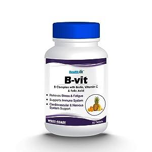 Healthvit Nutrition Natural B-Vit Vitamin B complex with Biotin, Vitamin C and Folic Acid - 60 Tablets (Vitamins B1, B2, B6) For boosts energy Mental Power & Metabolism