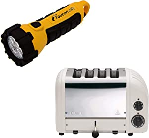Toucan City LED Flashlight and Dualit New Gen 4-Slice Feather Wide Slot Toaster with Crumb Tray 47443