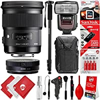 Sigma 50mm F1.4 ART DG HSM Lens for Nikon F DSLR Cameras + 32GB 17PC Bundle for D810 D750 D610 D7500 D7200 D7100 D7000 D500 D5600 D5500 D5300 D5200 D5100 D3400 D3300 D3200 and D3100