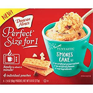 Duncan Hines Perfect Size for 1 Mug Cake Mix, Ready in About a Minute, S'Mores Cake, 4 individual pouches