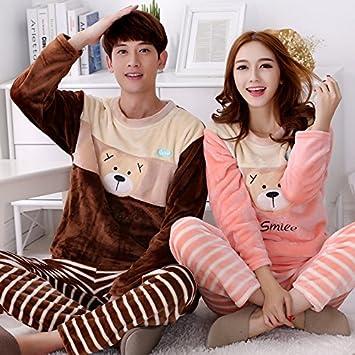 &zhou Parejas pijama ocio invierno pijamas gruesos hogar ropa conjuntos de cuello redondo , sets ,