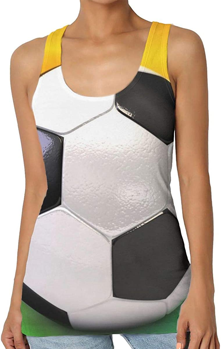 Womens Sexy Soccer Ball On The Field Graphic Tank Top Sleeveless Excercise Vest Shirt Tunic