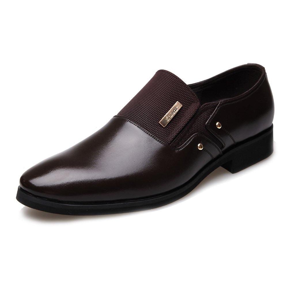 Brown JIALUN-shoes Fashion Men's Business shoes Matte PU Leather & Canvas Splice Slip-on Breathable Lined Oxfords(Lace-up Optional)