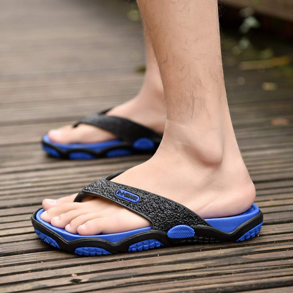 KESEELY Summer Men's Open Toe Slippers Fashion Beach Shoes Massage Bathroom Round Head Flip Flops Beach Casual Slippers Blue by KESEELY (Image #6)