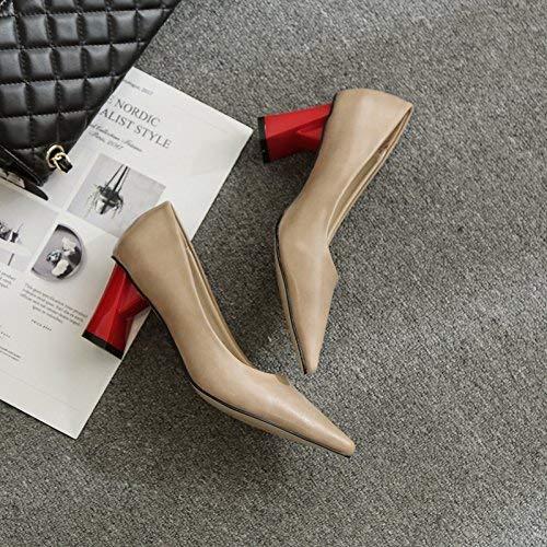 Eeayyygch Pumps Spitzschuh mit hohen Absätzen Dick mit einzelnen Schuhen Schuhen Schuhen Damen mit Wild Fashion rot Absatzschuhen, 38, Aprikose (Farbe   -, Größe   -) ee873e