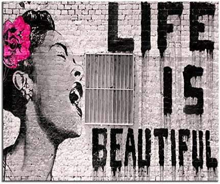"""/""""Life Is Beautiful/"""" Billie Holiday 20/""""x26/"""" Stretched Ready to hang Urban Art"""
