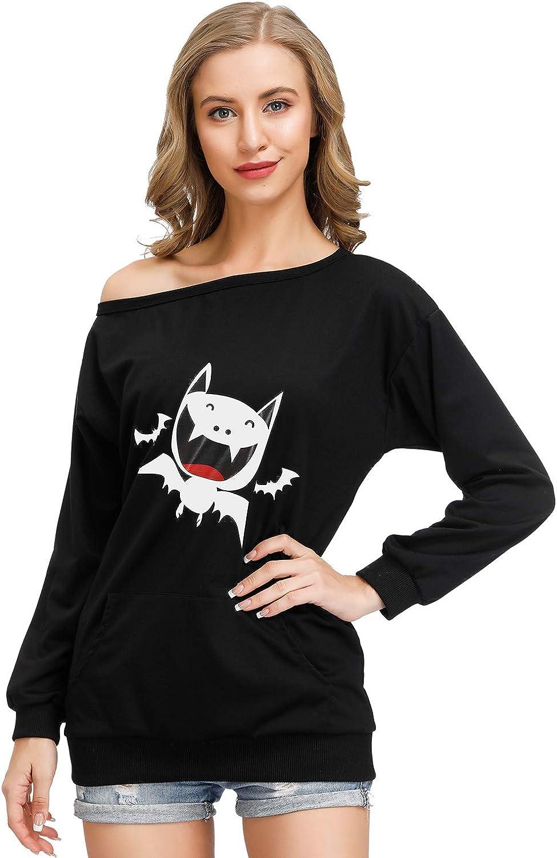 Womens Halloween Print Shirt Slouchy Off Shoulder Sweatshirt Bat Pullover Top