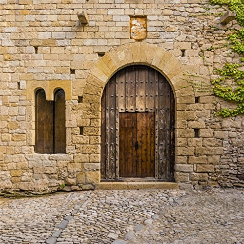 LFEEY 6x6ft Ancient Wooden Door Backdrop Old Spain Peratallada Historic Palace Weathered Mediaeval Castle Doorway Photography Background Travel Photo Studio Props by LFEEY