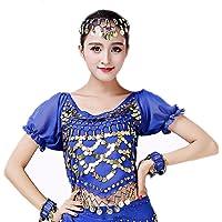 Reefa Shirts Top Haut en Chiffon Manches Courtes Manches Lanterne Avec Sequins Pour Femme Pour Danse du Ventre Danse Orientale Taille Réglable