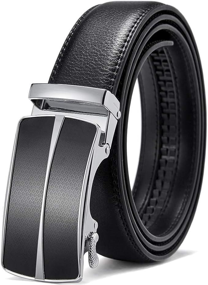 Brown Genuine Leather Mens Belt Silvery Solid Sliding Buckle Ratchet Dress Belt