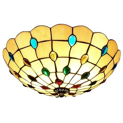 Luces de techo de LED elegante ronda vidriera Tiffany estilo ...