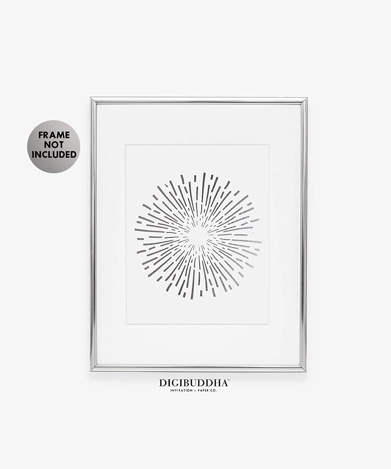 Burst Silver Foil Art Print Abstract Circle Fireworks Concentric Lines Sun Starburst Poster Contemporary Geometric Wall Decor 8 inches x 10 inches B1