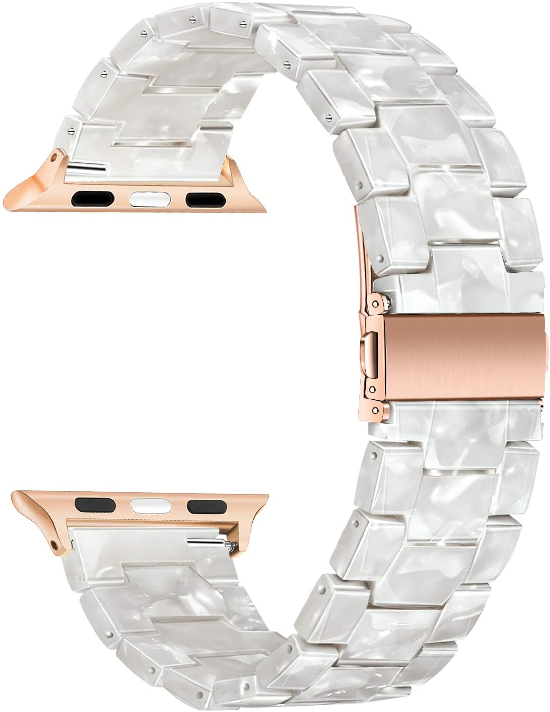 TRUMiRR Watchband Compatible for 38mm 40mm Apple Watch Women, Fashion Resin Watchband Rose Gold Stainless Steel Buckle Strap Bracelet for iWatch SE Apple Watch Series 6 5 4 3 2 1 All Models