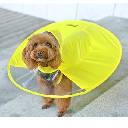 LanLan Paraguas Divertidas para Mascotas con Capucha Impermeable para Perros pequeños, Ropa de Lluvia para