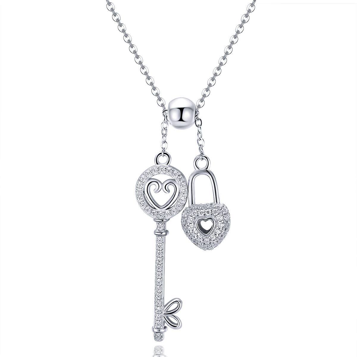 c5d60ccaad LYZYY Women's Wedding 925 Sterling Silver Key Lock Couple Necklace  Exquisite Pendant Cubic Zirconia Women's Jewelry for Wife Or Girlfriend's  Exquisite ...