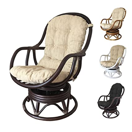 Rattan Swivel Rocking Chair Erick With Cushion (Dark Brown, Beige Cushion)
