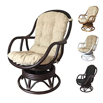 Delicieux Rattan Swivel Rocking Chair Erick With Cushion (Dark Brown, Beige Cushion)
