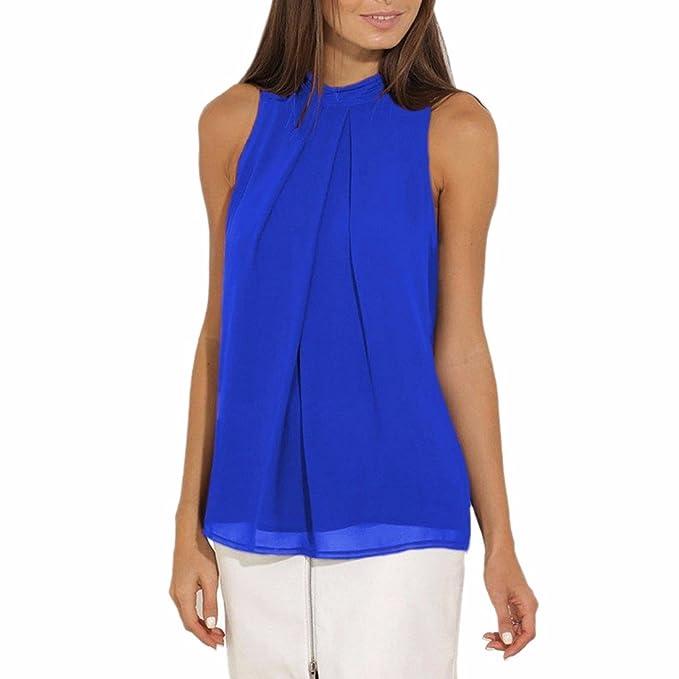 f8e4a102d2693 Z Camisetas para Mujer Blusa Sin Mangas Chaleco De Gasa Tops  Amazon.es   Ropa y accesorios