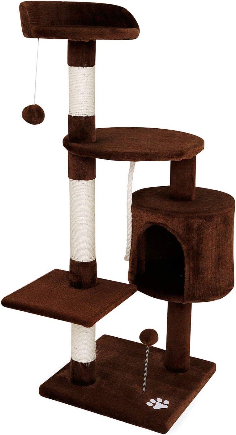 Dibea - Rascador para Gatos, Centro de Actividades, Poste para rascar, 112 cm, Color marrón