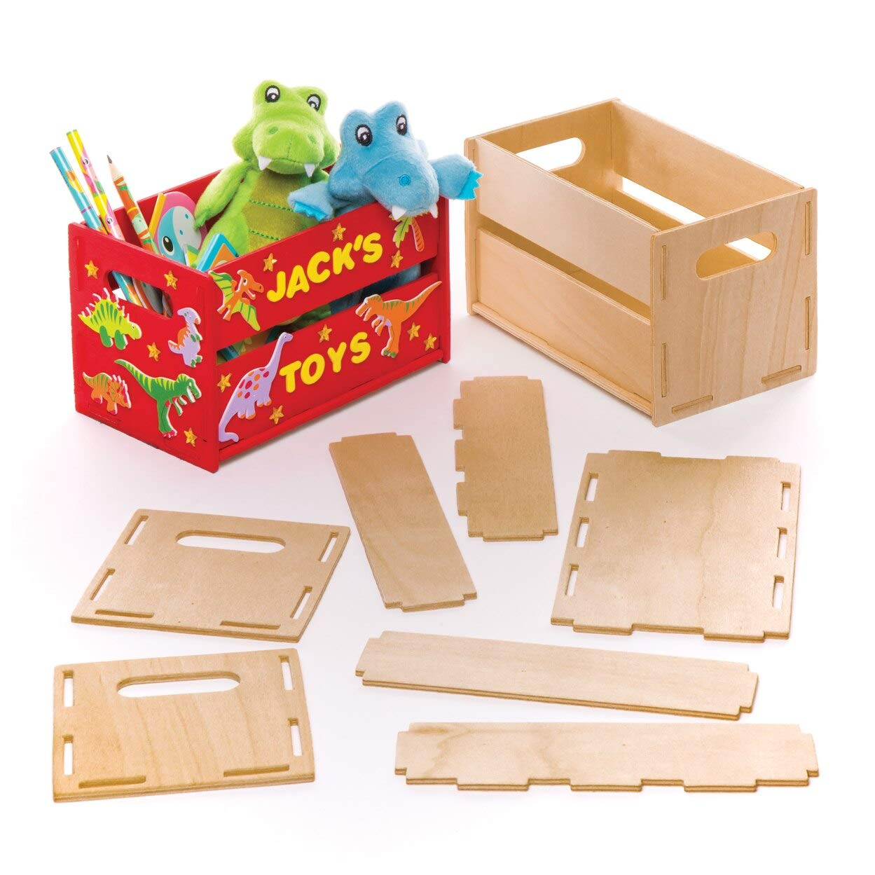 Baker Ross Mini Wooden Crate Kits for Kids to Decorate and Personalise for Mothers Day Box of 2