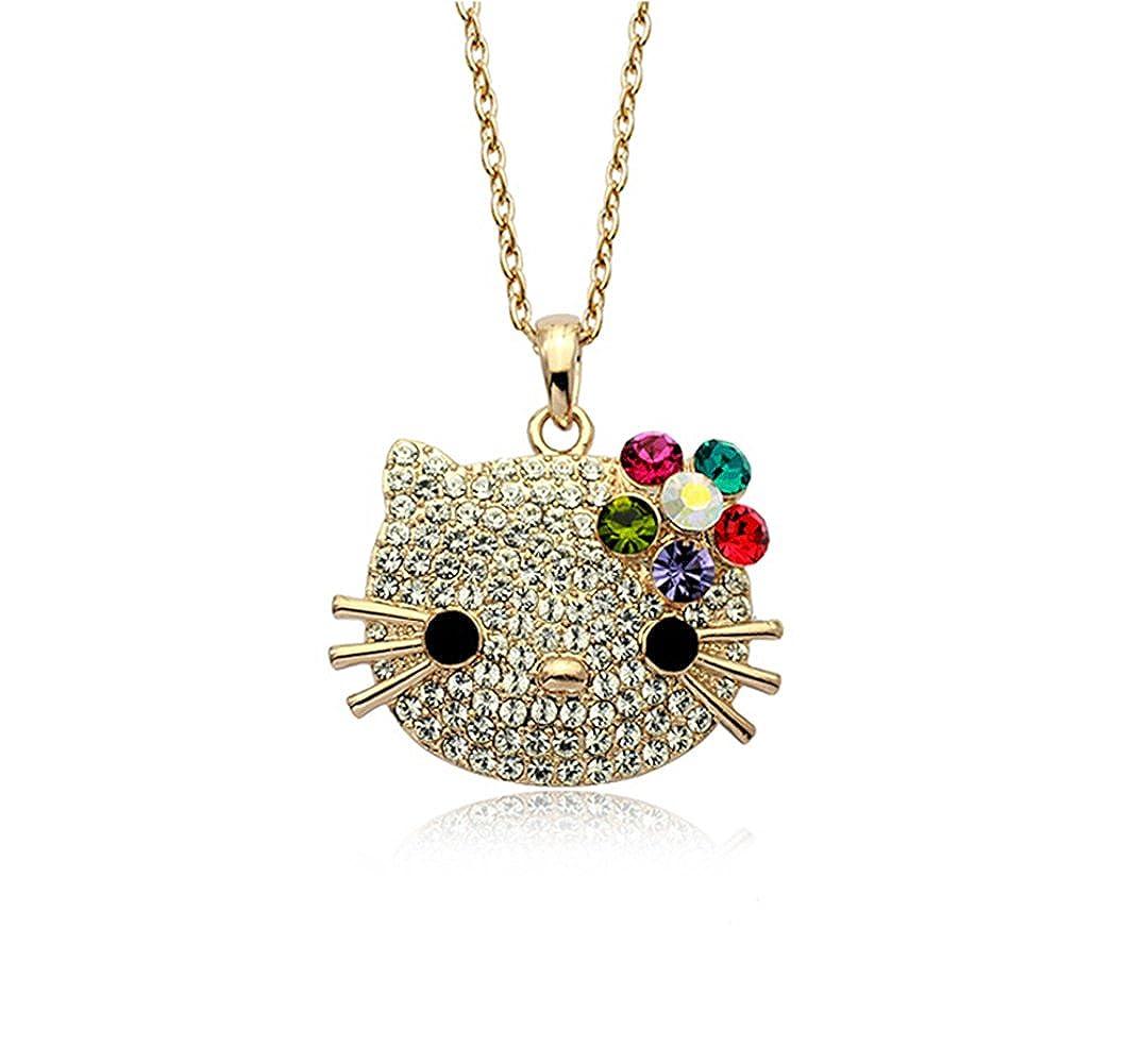 d04cb5c30a Amazon.com: Gold Plated Hello Kitty Multi-color Swarovski Austrian Elements Crystal  Pendant Necklace Fashion Jewelry: Jewelry