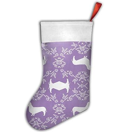 dachshund floral dog purple christmas stocking craft holiday hanging socks ornaments decorations santa stockings - Purple Christmas Stockings