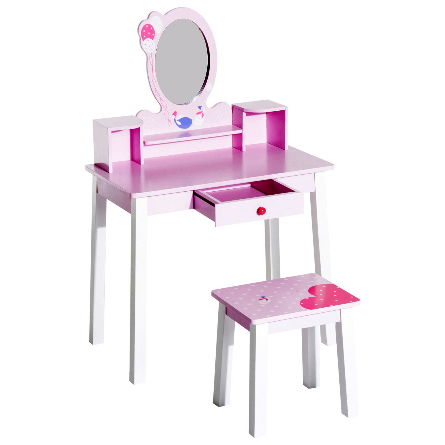 HOMCOM Kids Wooden Dressing Table and Stool Make Up Desk (Pink) Sold By MHSTAR