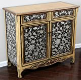 """Oliver and Smith - French Parisian Collection - Solid Wood Antique Accent Bombay Chest Dresser - Black Silver Grey and Gold - 2 Drawer Cabinet - Cabinet with Shelves - 99236 - 40"""" W x 36"""" H x 18.5"""" D"""