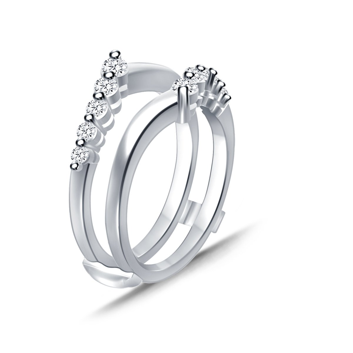 0.5 Cttw Diamond Chevron Style Wedding Band Enhancer Guard Ring In 10Kt White Gold (IJ/I2-13)