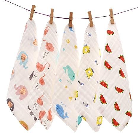 Miyanuby - Toalla de mano para bebé, 6 capas, muselina, algodón, 28