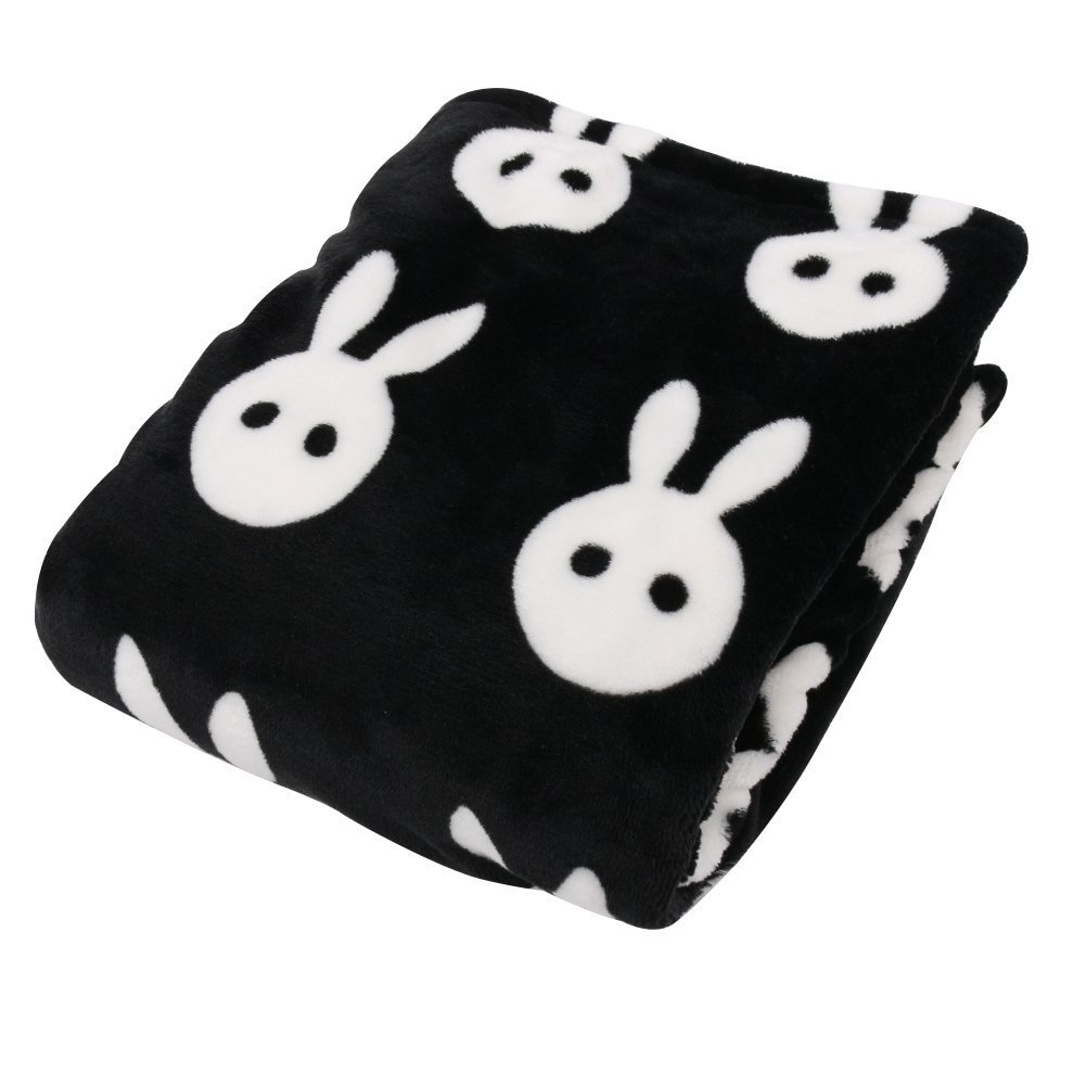 Nursery Bed Blankets,Cotton Soft Black and White Babbit Baby Blanket - 35x47 Inch
