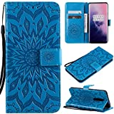 Cfrau Kickstand Wallet Case with Black Stylus for OnePlus 7 Pro,Retro Mandala Sunflower PU Leather Magnetic Flip Folio Stand Soft Silicone Card Slots Case with Wrist Strap - Blue