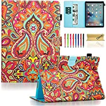iPad Air 2 Case, iPad 6 Case, Dteck(TM) Pretty Cute Cartoon Flip Smart Stand Case with [Auto Sleep Wake] Premium Synthetic Leather Magnetic Wallet Cover for Apple iPad Air 2-India Flower