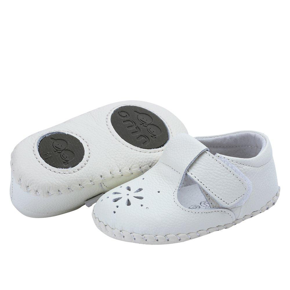 Kuner Baby Girls Genuine Leather Anti-Slip Summer Prewalker Toddler Sandals First Walkers Outdoor Shoes (12.5cm(12-18months), White-2) by Kuner (Image #3)