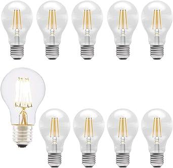 Bombilla LED E27 Edison de rosca - Pack de 10 filamentos LED 6 W ...