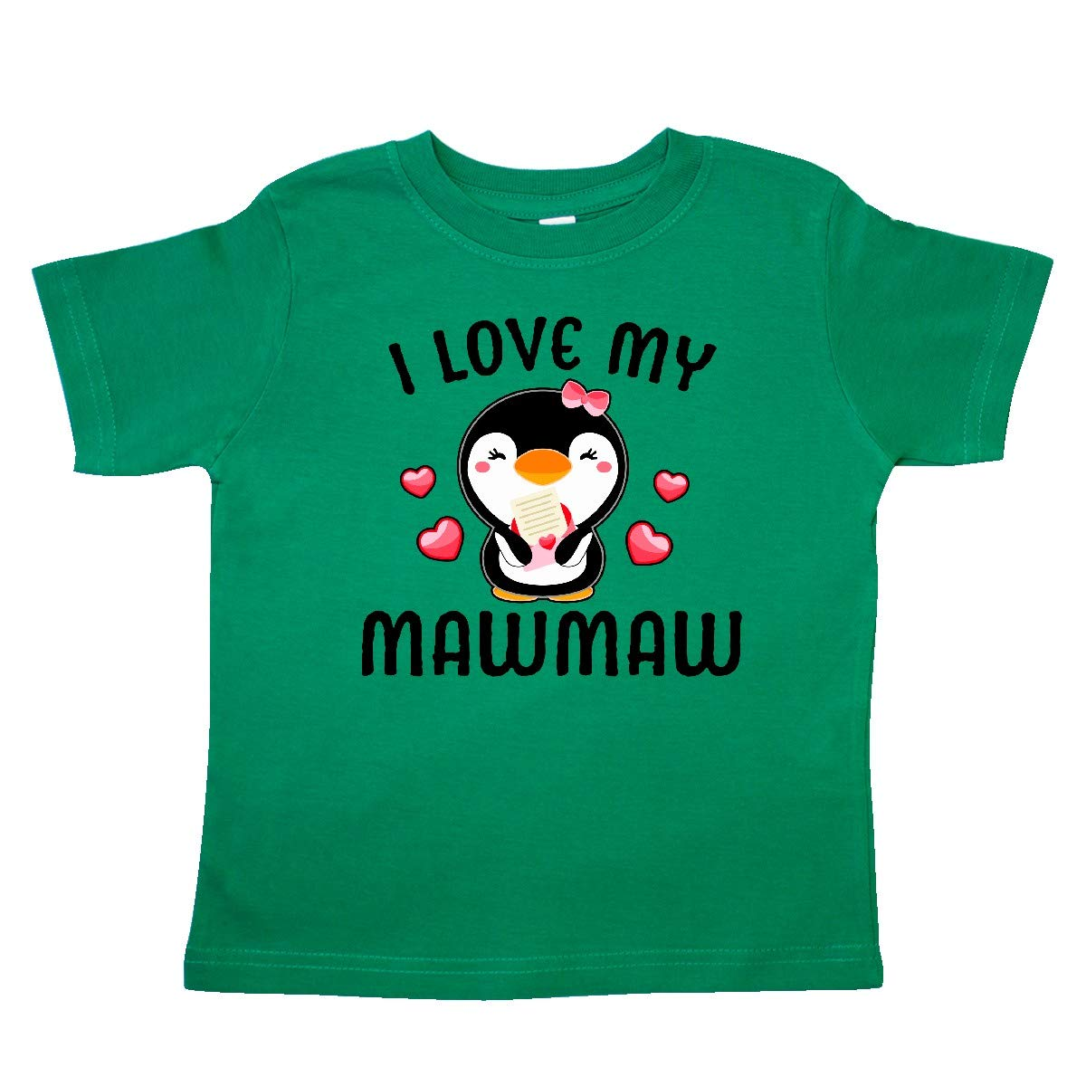 inktastic I Love My Mawmaw with Cute Penguin and Hearts Toddler T-Shirt