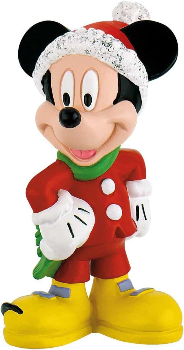 Figurines peintes /à la Main Bullyland 15074 sans PVC Jeu de Figurines Walt Disney Mickey et Minnie dans Costume de No/ël pour Les gar/çons et Les Filles pour Jouer avec Imagination