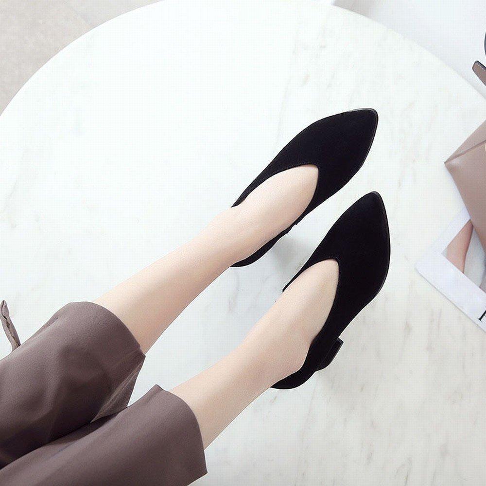 DIDIDD Faule Schuhleder-Schuhfrauen Schuhleder-Schuhfrauen Schuhleder-Schuhfrauen des Frühlingsfrühling-Hohen Absatzes Scheuern Raues mit OL-Schuhen Schwarz 5cm mit 35 0eb7b9