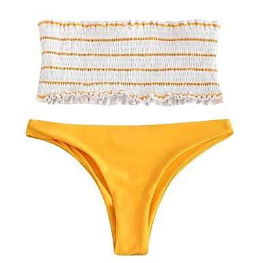 f14f3e9d8b Bikini Brésilien Maillots de Bain Femme 2 Pieces Sexy Bandeau Push-up Bas  de Maillot