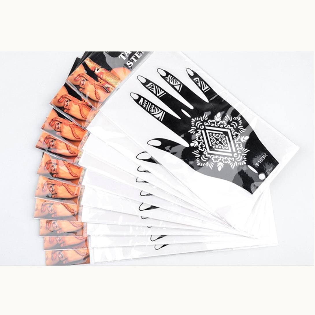 Tattoo Stickers, Naladoo 10Pairs Henna Stencil Arabic Indian Style Temporary Hand Tattoo Body Art Sticker Beauty Tool