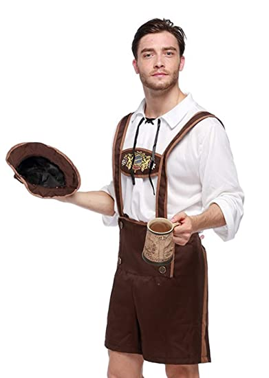 61064de48d Amazon.com: BILin German Lederhosen Bavarian Suspenders Oktoberfest  Halloween Costume: Clothing