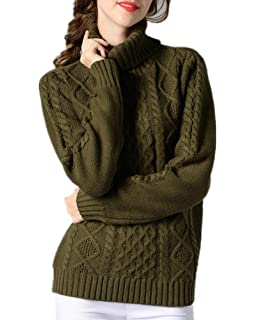 Sorrica Women Casual Warm Ribbed Cable Knit Turtleneck Long Sleeve Knitted  Sweater Pullover 7202f52c3
