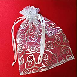 50 Organza Gift Bags (White with Silver Details, 4.5\