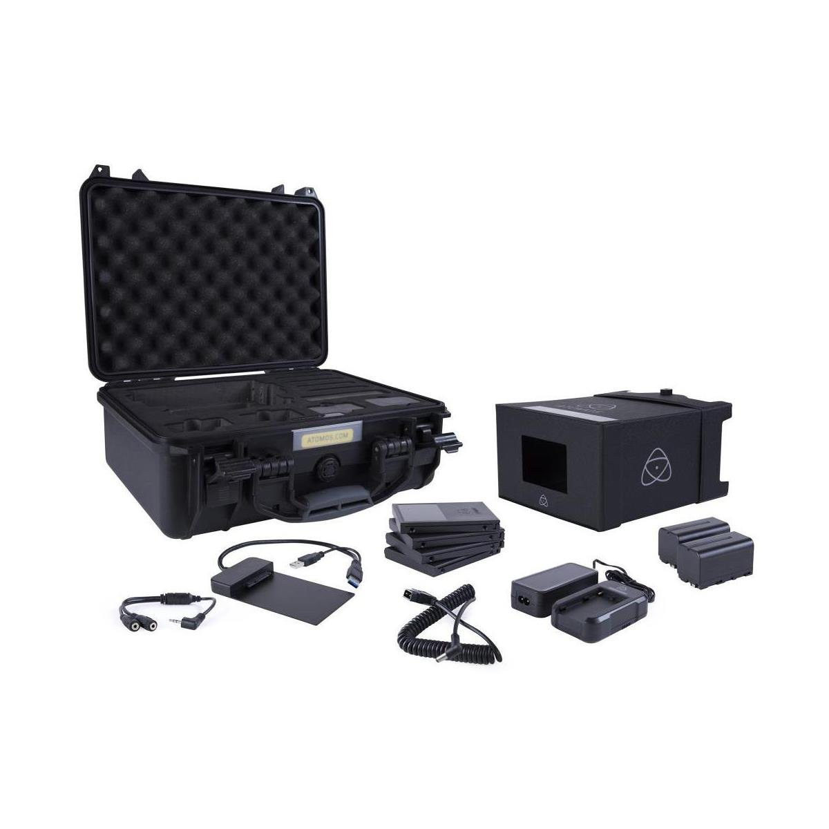 Atomos Shogun Inferno 7'' with Accessories Kit - Includes 2x Batteries with Fast Charger, 4x Master Caddies, Docking Station, HDR Sunhood, Power Supply, Control Cable, and Hard Case