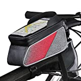 ROTTO Bicycle Bag Bike Frame Bag Top Tube Phone Bags Sensitive Touch Screen Waterproof with Rain Cover (Gray-Red)