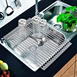 Roll-Up Dish Drying Rack of Kikoocare, Drain Rack 20.5''x13'' Over the Kitchen Sink Multipurpose Large Silicone Stainless Steel-Gray